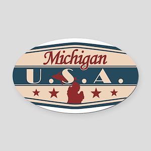 Michigan, USA Oval Car Magnet