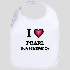I love Pearl Earrings Baby Bib