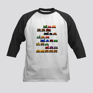 Too Many Trains White Lettering Baseball Jersey