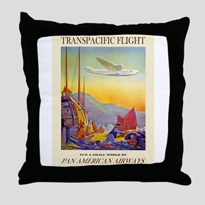 Vintage poster - Transpacific Flight Throw Pillow