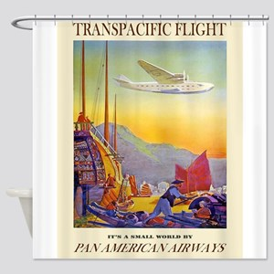 Vintage poster - Transpacific Fligh Shower Curtain