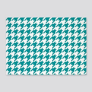 Blue, Teal: Houndstooth Checkered P 5'x7'Area Rug