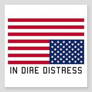 "Upside Down Flag Distress Square Car Magnet 3"" x 3"