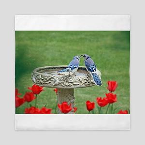 Blue Jay Lovebirds Queen Duvet