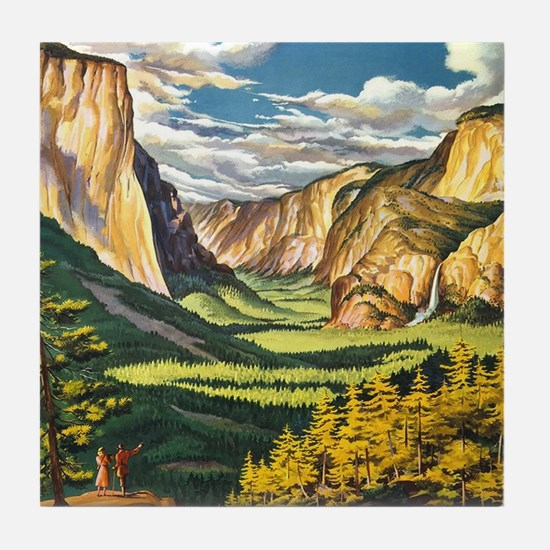 Funny Yosemite national park wildflowers Tile Coaster