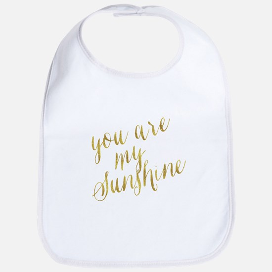 You Are My Sunshine Gold Faux Foil Metall Baby Bib