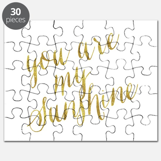 You Are My Sunshine Gold Faux Foil Metallic Puzzle