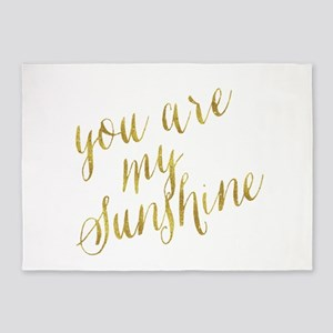 You Are My Sunshine Gold Faux Foil 5'x7'Area Rug