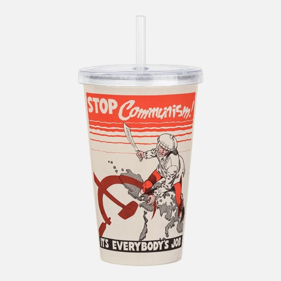 Vintage poster - Stop Acrylic Double-wall Tumbler