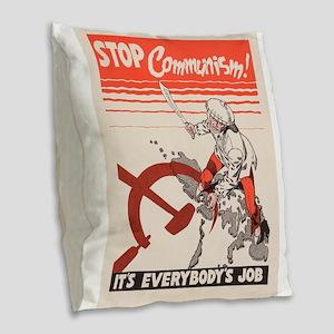 Vintage poster - Stop Communis Burlap Throw Pillow