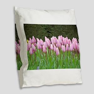 Pink Dutch Tulips of the Nethe Burlap Throw Pillow