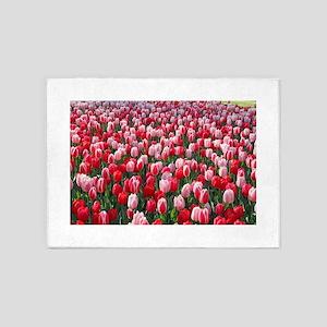 Red and Pink Tulips of Keukenhof Li 5'x7'Area Rug