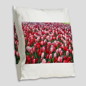 Red and Pink Tulips of Keukenh Burlap Throw Pillow