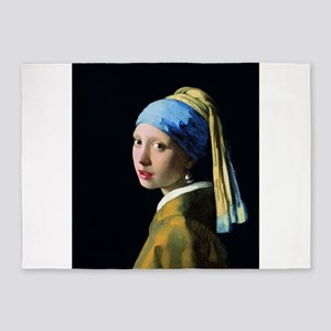 Jan Vermeer Girl With A Pearl Earri 5'x7'Area Rug