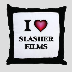 I love Slasher Films Throw Pillow