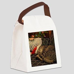 Santa Daisy the cat Canvas Lunch Bag