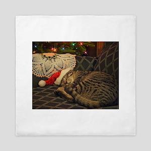 Santa Daisy the cat Queen Duvet