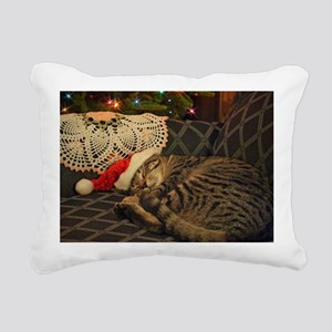 Santa Daisy the cat Rectangular Canvas Pillow