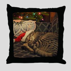 Santa Daisy the cat Throw Pillow