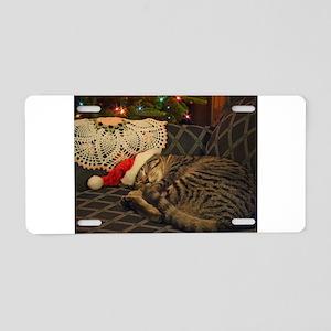 Santa Daisy the cat Aluminum License Plate