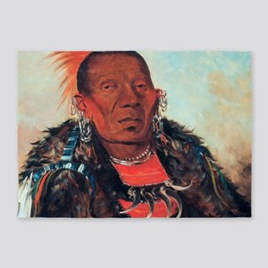 Wah-ro-nee-sah, Otoe Chief 5'x7'Area Rug