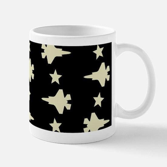 F-35 Lightning II & Stars Pattern (Blac Mug