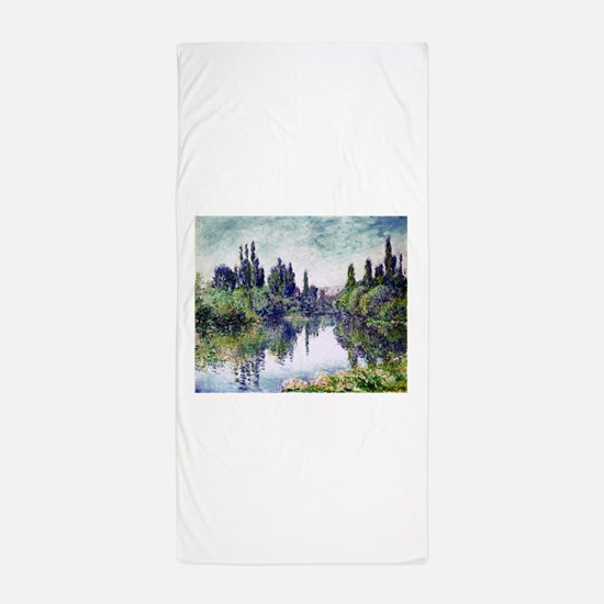 Morning on the Seine, near Vetheuil - Beach Towel