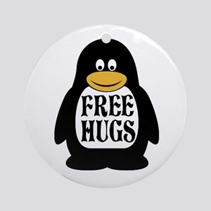 Free Hugs Penguin Round Ornament