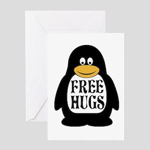 Free Hugs Penguin Greeting Cards