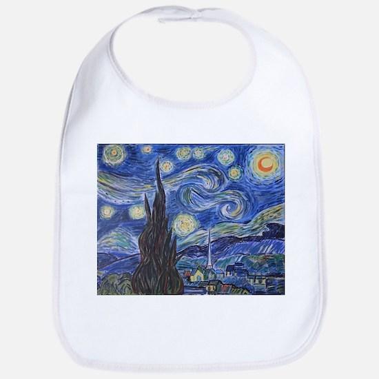 Starry Night, van Gogh art reproduction, Baby Bib
