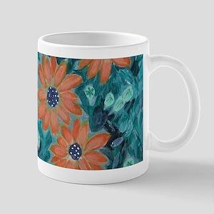 orange daisy flowers acrylic painting Mugs