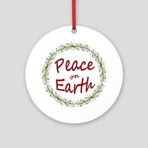 Christmas Peace on Earth Wreath Round Ornament