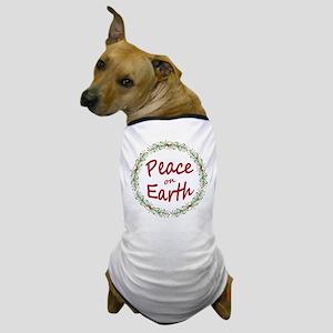 Christmas Peace on Earth Wreath Dog T-Shirt