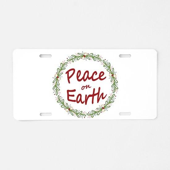 Christmas Peace on Earth Wreath Aluminum License P