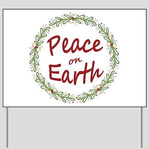 Christmas Peace on Earth Wreath Yard Sign