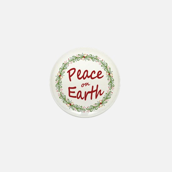 Christmas Peace on Earth Wreath Mini Button