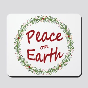 Christmas Peace on Earth Wreath Mousepad