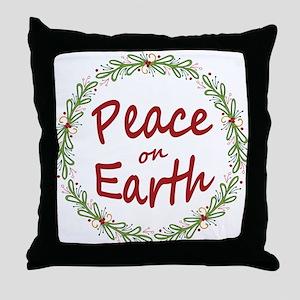 Christmas Peace on Earth Wreath Throw Pillow