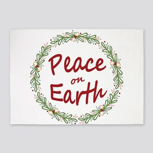 Christmas Peace on Earth Wreath 5'x7'Area Rug