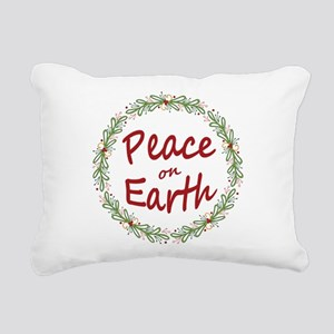 Christmas Peace on Earth Wreath Rectangular Canvas