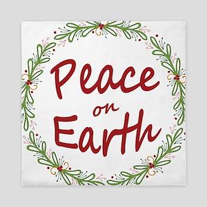 Christmas Peace on Earth Wreath Queen Duvet
