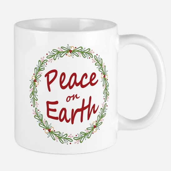 Christmas Peace on Earth Wreath Mugs