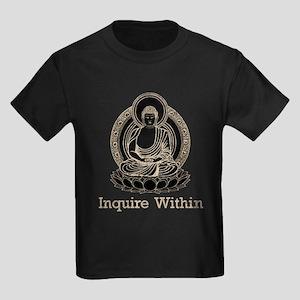 Vintage Buddha Inquire Within Kids Dark T-Shirt