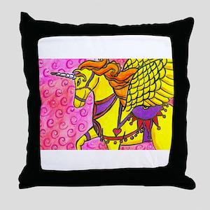 Winged Unicorn Throw Pillow