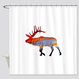 Sunset elk Shower Curtain