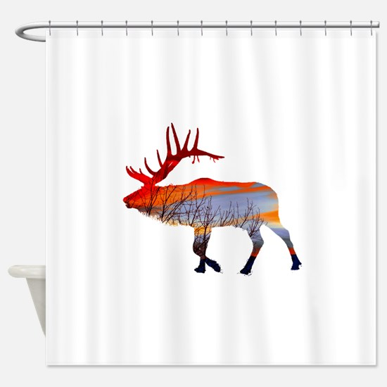 Sunset elk Shower Curtain