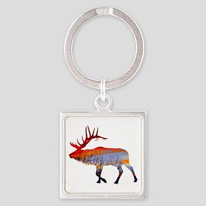Sunset elk Square Keychain