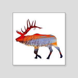 "Sunset elk Square Sticker 3"" x 3"""