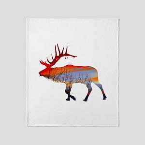 Sunset elk Throw Blanket