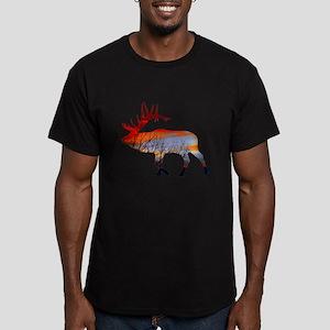 Sunset elk Men's Fitted T-Shirt (dark)